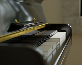 Acoustic Upright Piano 3D model