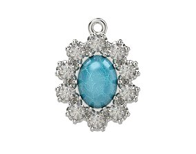 Women pendant with cabochon and gems 3dm stl CAD vintage