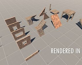 3D asset Survival Base Wooden Modular House
