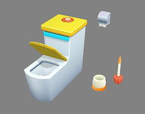 Cartoon toilet - toilet brush - toilet paper 3D model