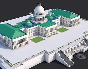 3D model Low Poly United States Capitol Hill Landmark