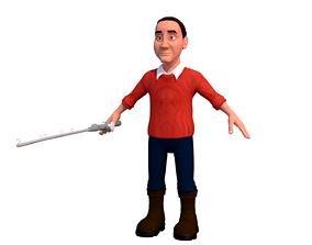 MAX fisherman A cartoon rigged character 3D model