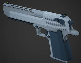 Stylized Desert Eagle Pistol Low Poly Mobile 3D asset