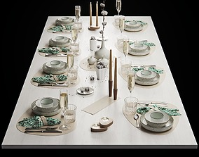 Table setting with cotton flower 3D model
