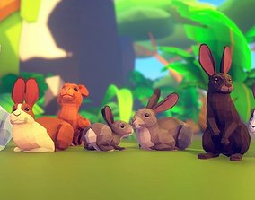 3D asset animated Poly Art Rabbits