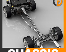 Car Chassis and Engine 3D model