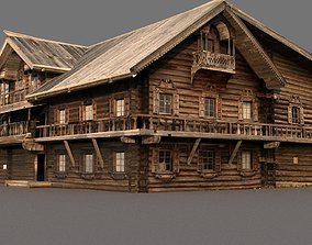 Russian wooden house on Kizhi island 3D model