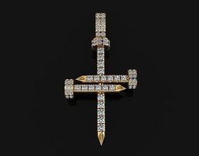 3D printable model Diamond Nail Cross Pendant