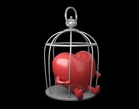 3D asset Heart in cage