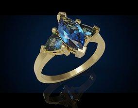 Three gemstone ring Cg 3 8 3D print model