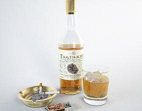 3D model Talisker whiskey cigarette ice decor