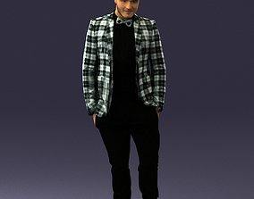 Man in a checked jacket and bow tie 0187 3D Print Ready