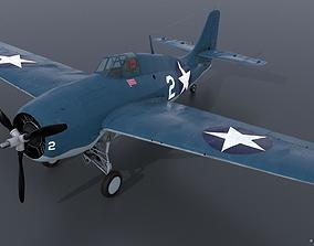 3D model rigged GRUMMAN F4F-3 WILDCAT VMF-222