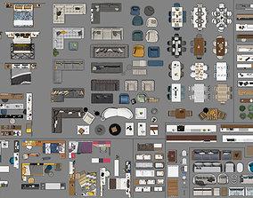 FLOOR PLAN 2d furniture top view PSD 3D model render