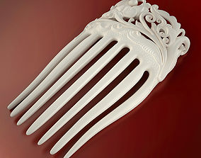 Flower hair comb printable 3d