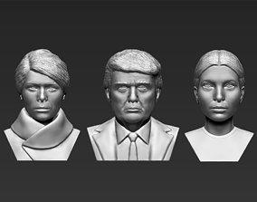 Donald Melania Ivanka Trump busts 3D printing ready