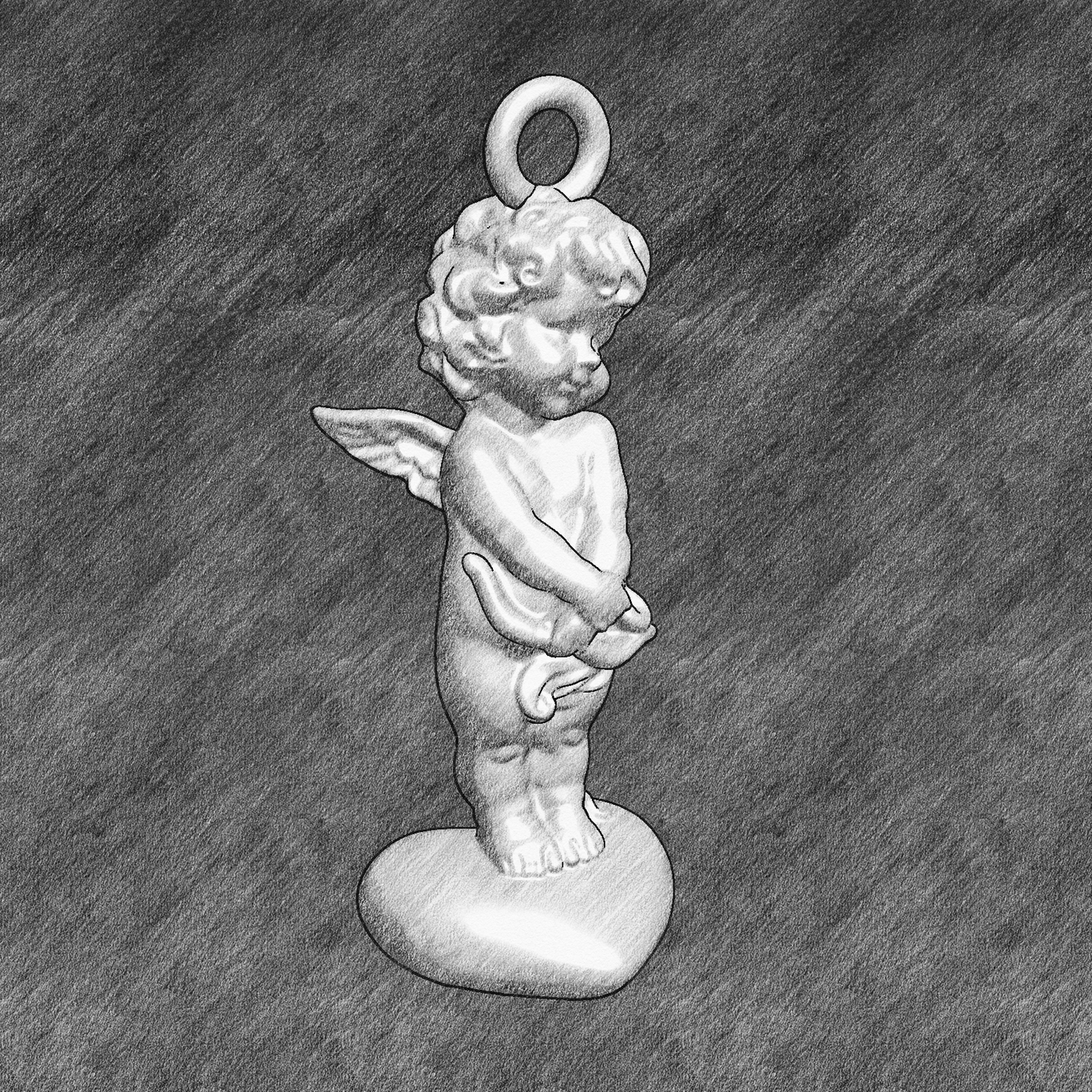 Angel on the heart V2 Pendant jewelry Gold 3D print model