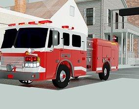 realistic fire truck 3D asset