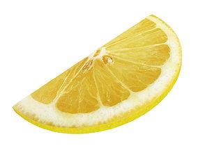 3D Lemon round slice half