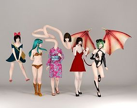 Halloween girls set 01 3D model