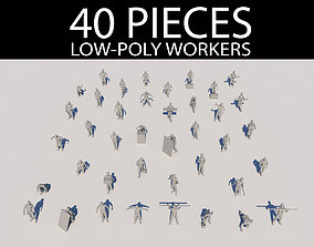 Low-poly Workers Pack 3D model