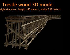 Wood trestle bridge 3D model VR / AR ready