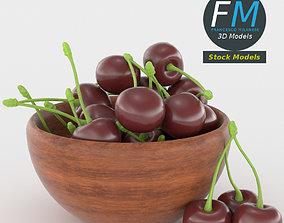 Cherries in a bowl 3D model