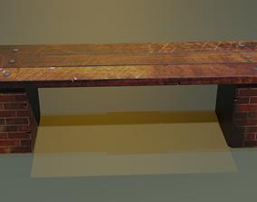 3D asset Street bench low-poly