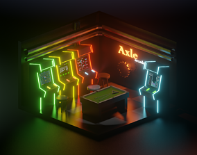 low poly arcade room 3D asset