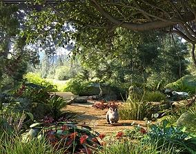 Tropical rain-forest virgin forest snake crawling 3D model