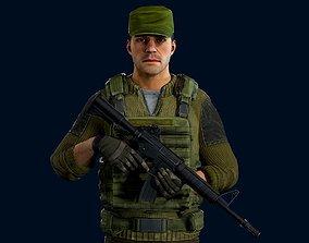 Modular military character - demo scene 3D model