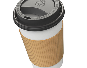 Takeout coffee cup with the lid 3D