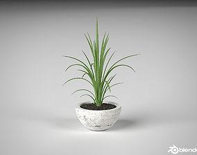 3D model Realistic ornemental concrete vase pot potted 1