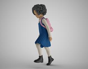 3D printable model Little School Girl Climbing Steps 3