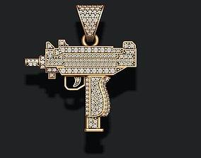 3D printable model automat gun pendant with gems