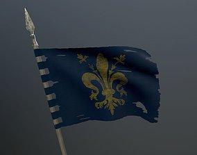 Medieval flag on the spear 3D model