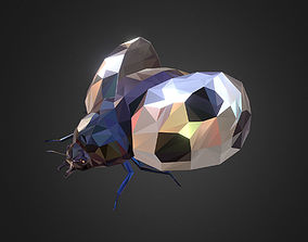 Bug Ladybug White Low Polygon Art Insect 3D model