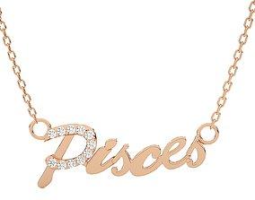 Pisces Zodiac Pendant Necklace 3dm stl render detail