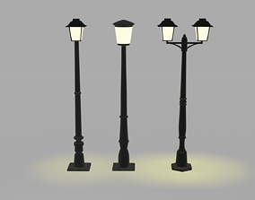 3D model low-poly Street Lamps