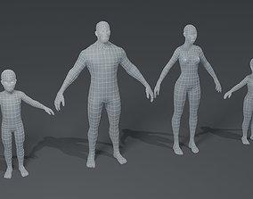 Human Body Base Mesh 3D Model Family Pack realtime