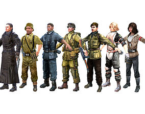 3D model WWII Characters Pack