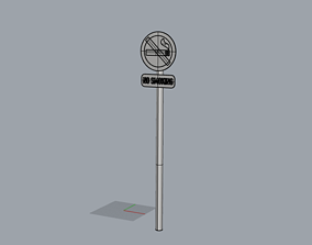 3D model no smoke sign