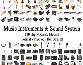 3D viola Musical Instruments Collection