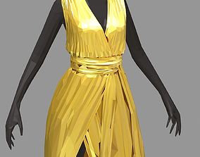 3D asset poly art women summer long gold dress black 2