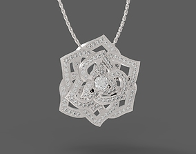 Rose shaped pendant or broche 3D print model