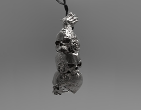Skull pyramide pendant Detailed with 3D printable model 2