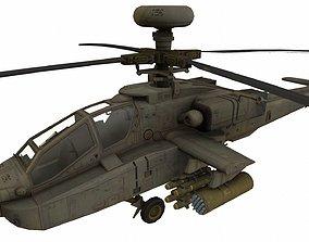 3D model low-poly AH-64 Apache