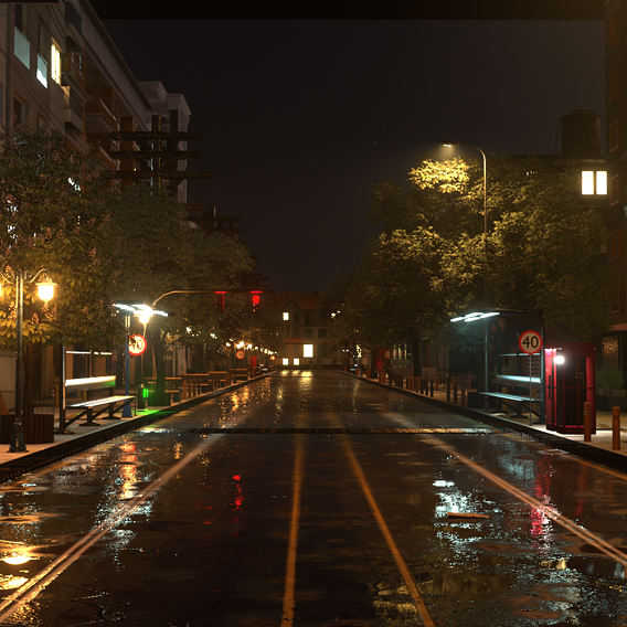 City Street Realistic 3D Model