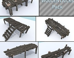 3D asset Wooden Docks Pack