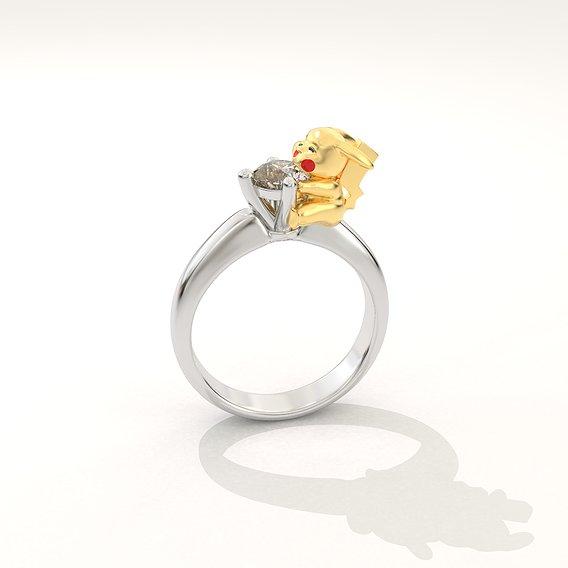 Pickachu ring with diamond